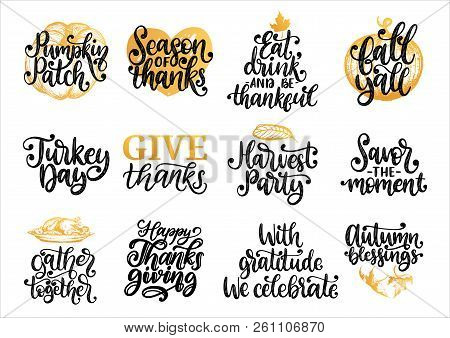 Drawn Illustrations For Thanksgiving Day. Pumpkin Patch, Turkey Day, Fall Yall, Harvest Party Etc.,