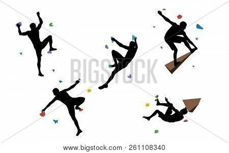 Black Silhouettes Of Men Who Climb On A Wall In A Climbing Gym Isolated On A White Background. Vecto