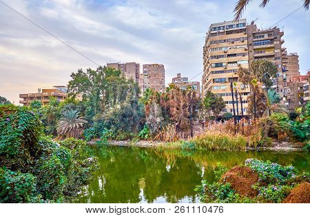 The Residential District On Rawdah (roda) Island With Decrepit Buildings In Cairo, Egypt