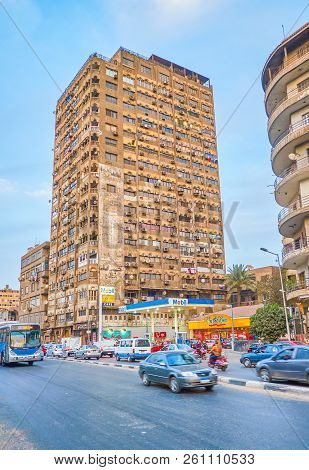 Cairo, Egypt - December 23, 2017: The Huge Residential High-rise Building Located On Corniche El-nil
