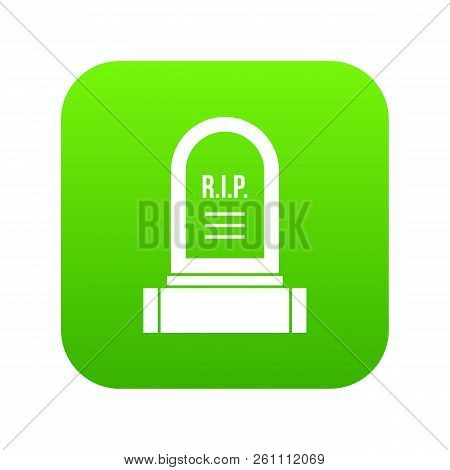 Headstone Icon Digital Green For Any Design Isolated On White Vector Illustration