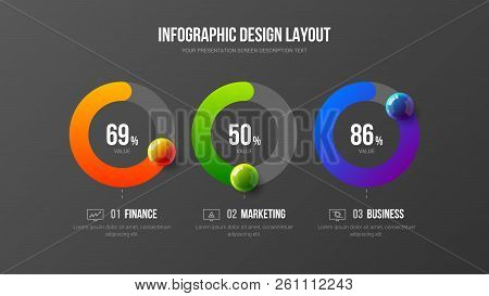 Amazing Business Infographic Presentation Vector 3d Colorful Balls Illustration. Corporate Marketing
