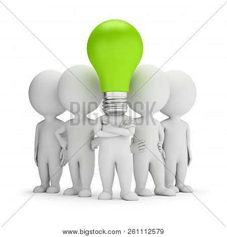 3d Small People - Leader On The Ideas Of The Team. 3d Image. White Background.