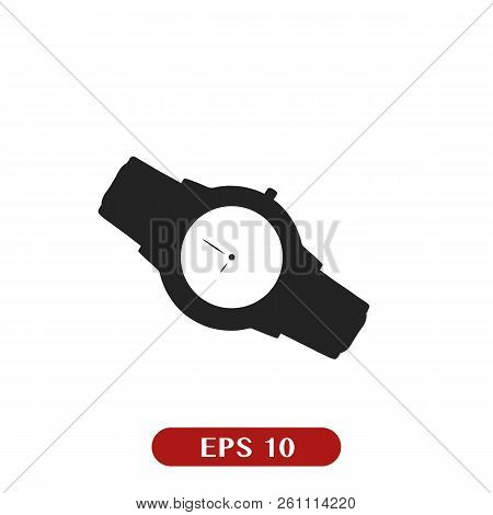 Watch Icon Isolated On White. Luxury Man Watches Icon. Classic Wrist Chronograph Clock . Mechanical
