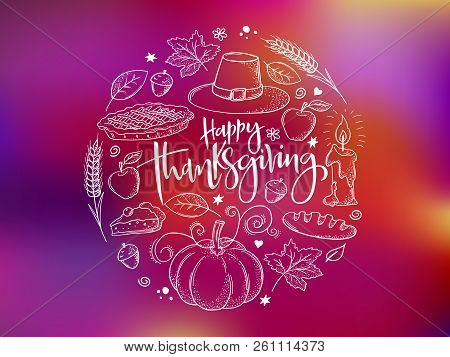 Vector Greeting Thanksgiving Banner With Hand Lettering Label - Happy Thanksgiving - With Bright Doo