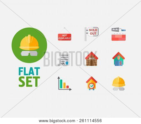 Real Estate Icons Set. Sold Out And Real Estate Icons With Progress Down, Checking And Tenant. Set O