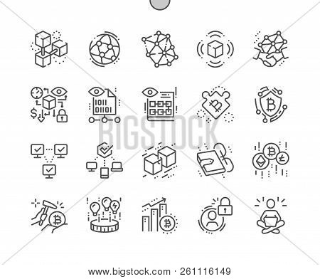 Blockchain Revolution Well-crafted Pixel Perfect Vector Thin Line Icons 30 2x Grid For Web Graphics
