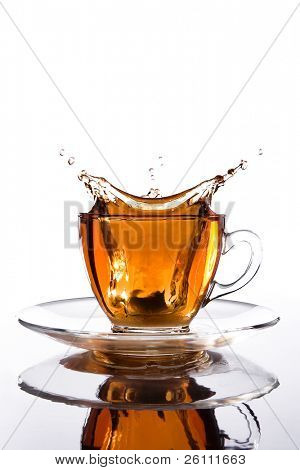 glass cup of tea withsplash out