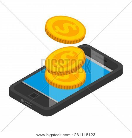 Smartphone Money Pay Icon. Isometric Of Smartphone Money Pay Vector Icon For Web Design Isolated On