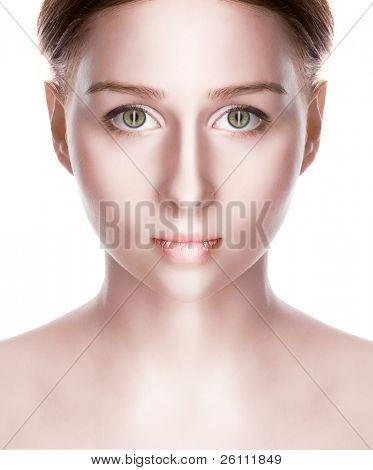 beauty vampire with green eye over white