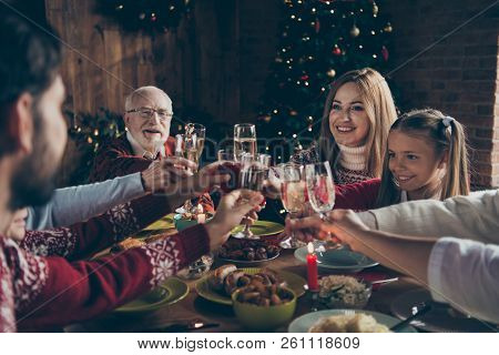 Noel Evening Family Gathering, Meeting, Congrats. Cheerful Grey-haired Grandparents, Grandchildren,