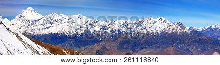 Panoramic View From Thorung La Pass Annapurna Himal To Mount Dhaulagiri - Dhaulagiri Himal - Nepal H