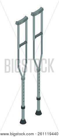 Metal Crutches Icon. Isometric Of Metal Crutches Vector Icon For Web Design Isolated On White Backgr