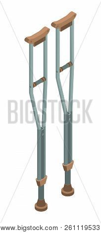 Physical Crutches Icon. Isometric Of Physical Crutches Vector Icon For Web Design Isolated On White