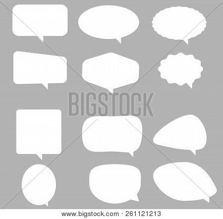Speech Bubble Icon On Gray Background. Flat Style. Blank Empty White Speech Bubbles. Speech Bubble S