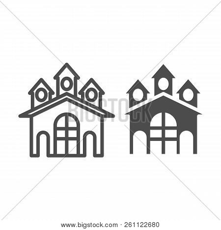 Fort Line And Glyph Icon. Castle Vector Illustration Isolated On White. Stronghold Outline Style Des