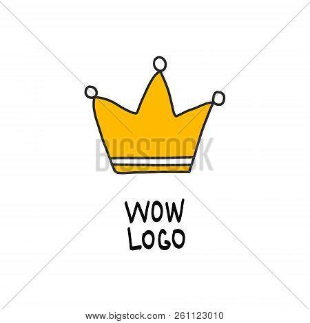 Crown Yellow Hand Drawn Logo On White Font