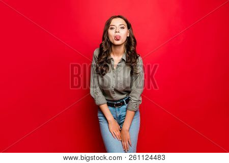 Portrait Of Attractive, Pretty, Dreamy, Funny Young Person In Streetstyle Outfit, With New Hairdo, L