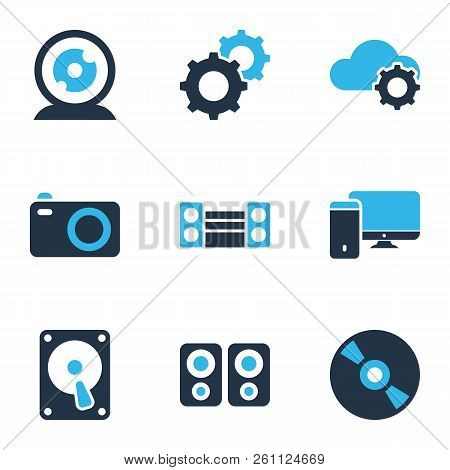 Electronics Icons Colored Set With Technology, Cd, Hdd And Other Compact Disc Elements. Isolated Vec