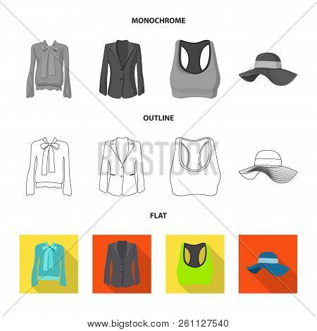 Isolated Object Of Woman And Clothing Symbol. Collection Of Woman And Wear Stock Vector Illustration