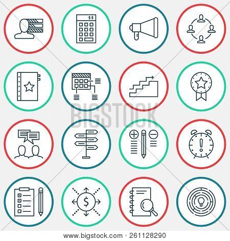 Project Icons Set With Teamwork And Meeting, Goal, Project Planning Time Management Elements. Isolat