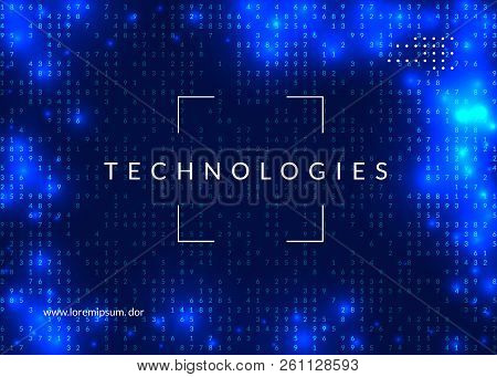 Artificial Intelligence Background. Technology For Big Data, Visualization, Deep Learning And Quantu