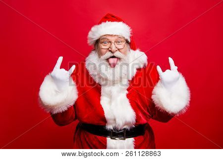 Ho-ho-ho! Party Time Concept. Aged Mature Playful Emotion Grandfather Santa With Gloves Sticking Ton