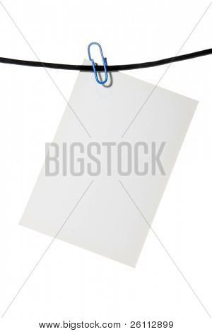 white paper clip rope over white background