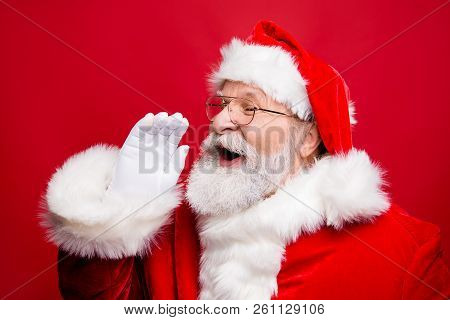 Communication Concept. Profile Side View Photo Of Excited Funny Kind Stylish Santa Claus With Open M