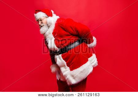 I Wish Visit Chiropractor! Profile Side View Stylish Aged Unhealthy Spine Mature Santa In Costume He