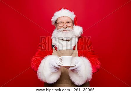 Rest Relax Concept. Careless Carefree Kind Cheerful Positive Glad Calm Aged Santa White Beard Costum