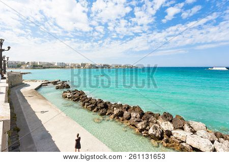 Otranto, Apulia, Italy - Wave-breaker At The Quay Of Otranto In Italy