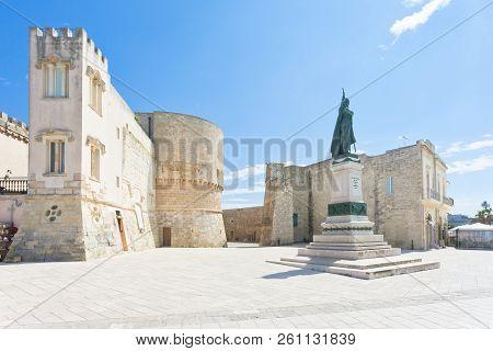 Otranto, Apulia, Italy - A Historic Statue At The City Gate Of Otranto