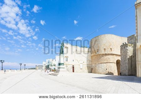 Otranto, Apulia, Italy - Promenade Of Otranto In Front Of The Historic City Gate