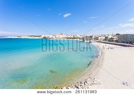 Otranto, Apulia, Italy - Relaxing At The Beautiful Beach Bay Of Otranto In Italy