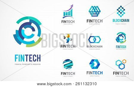 Logo Set - Fintech, Blockchain, Technology, Biotechnology, Tech Icons And Symbols