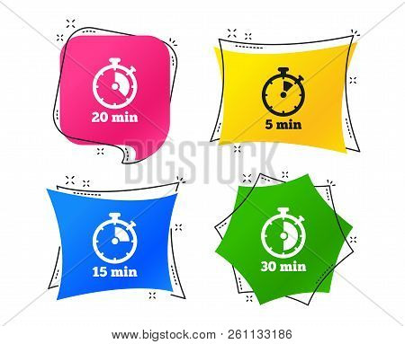 Timer Icons. 5, 15, 20 And 30 Minutes Stopwatch Symbols. Geometric Colorful Tags. Banners With Flat
