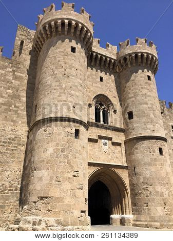 Grand Master Of Rhodes. The Rhodes Castle Is The Main Defensive Structure Of The Medieval City Of Rh