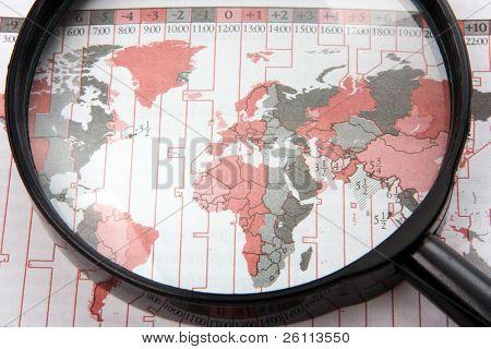 black magnifer with world map