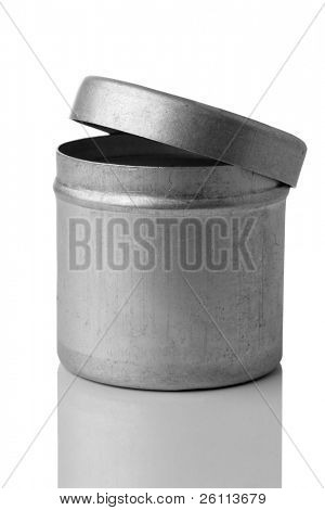 metal can over white background
