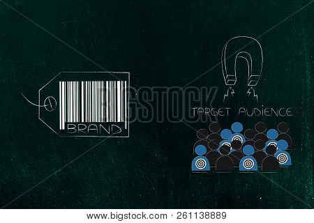 Potential Customers And Marketing Conceptual Illustration: Brand Icon Next To Target Audience Being