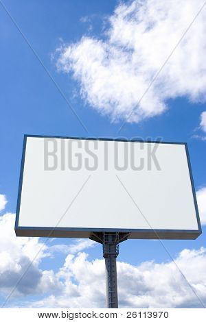 white billboard on blue sky with clouds
