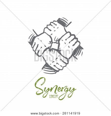 Synergy, Business, Community, Team, Together Concept. Hand Drawn Human Hands Holding Each Other Conc