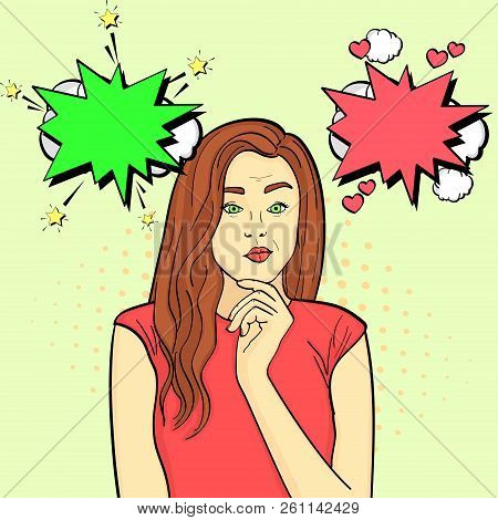 A Young Girl Chooses. The Choice Of Fate. Pop Art Brown Background, Point. The Imitation Of Comic St