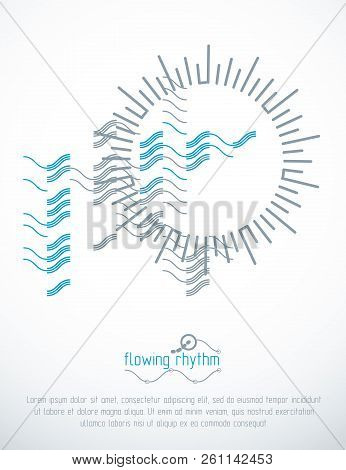 Abstract Wavy Lines Pattern, Art Graphic Illustration Can Be Used As Presentation Flyer Or Brochure