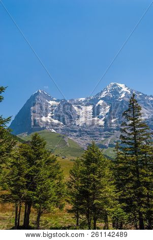 Beautiful Summer Mountain Landscape With Views Of Eiger Peak And Monch Peak. Bernese Oberland, Switz