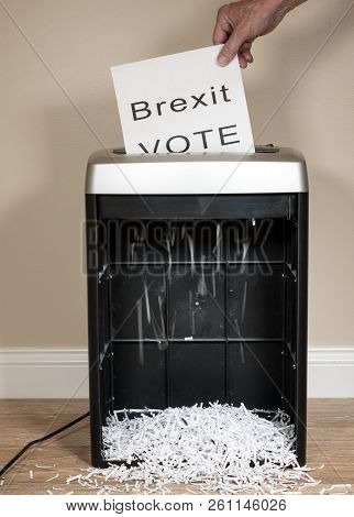 Brexit Paper Vote Being Shredded As A Wasted Vote In An Office Shredder