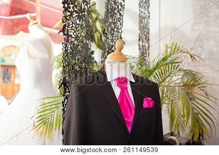 Elegant Male Mannequin Presenting Luxury Suits Tuxedo Groom And Male Fashion Accesories In Wedding D