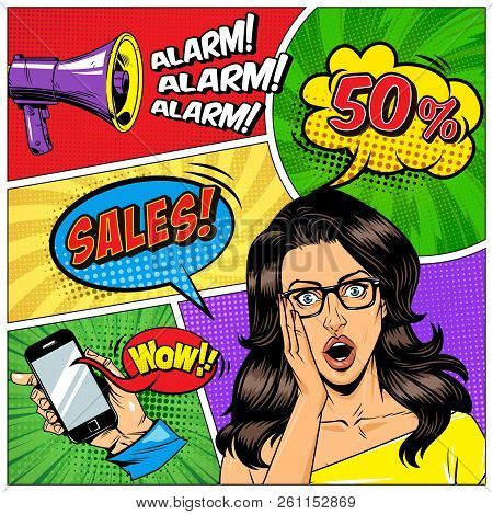 Comic Book Page Concept With Wonder Attractive Woman Thumb Up Hand Gesture Flying Rocket Lightbulb S