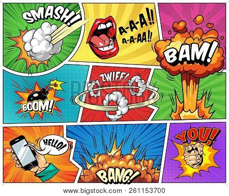 Comic Bright Composition With Explosive Halftone Rays Radial Effects Speech Bubbles Wordings Shoutin